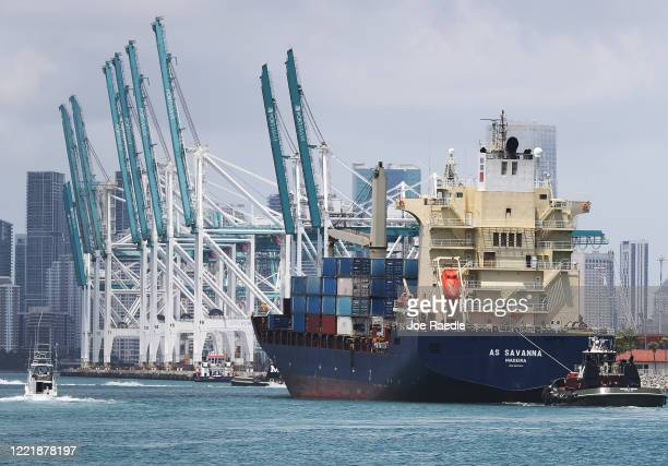 The AS Savanna cargo ship pulls into PortMiami on April 29 2020 in Miami Florida The government reported that the gross domestic product fell 48% in...