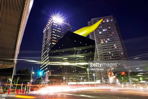 The Asahi Beer Hall in Asakusa at night designed by Philippe Starck