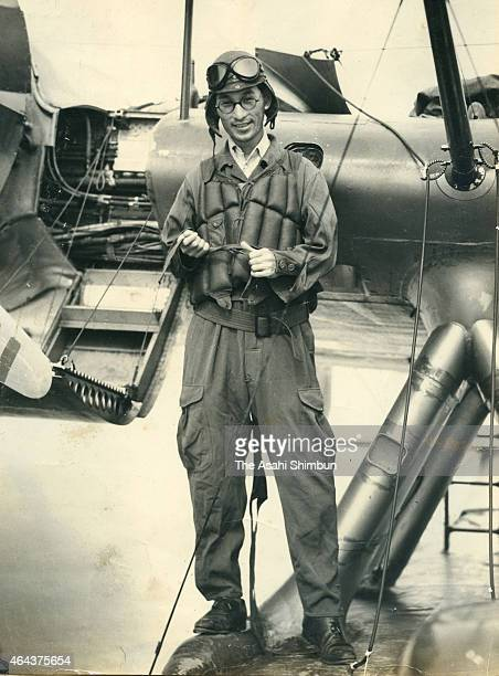 The Asahi Shimbun photographer Yasuo Tomishige poses for photographs prior to departing for Rabaul at the Imperial Japanese Navy base on March 4 1942...