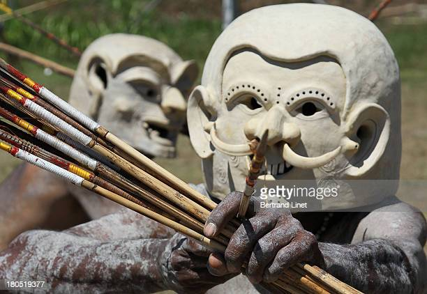 CONTENT] The Asaro Mudmen come from just outside the village of Goroka in the Eastern Highlands Province of Papua New Guinea Picture taken at the...