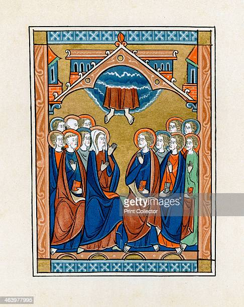 The Ascension 12501260 Christ ascends into Heaven From the London Psalter produced in Paris Illustration from Illuminated Manuscripts in the British...