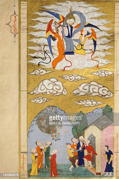 The Ascension The Prophet Muhhamed bieng carried to heaven by the Archangel Gabriel miniature from The tales of Luqman Arabic manuscript 1583