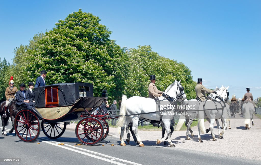 The Ascot Landau carriage pulled by four Windsor Grey Horses, which will carry Prince Harry and Meghan Markle through Windsor following their wedding, turns into Long Walk during a military dress rehearsal for the wedding of Prince Harry and Meghan Markle at Windsor Castle on May 17, 2018 in Windsor, England.