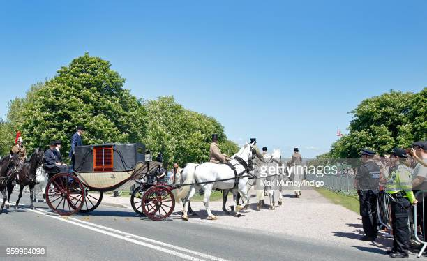 The Ascot Landau carriage pulled by four Windsor Grey Horses which will carry Prince Harry and Meghan Markle through Windsor following their wedding...