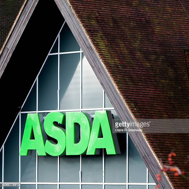 The Asda sign is displayed over the entrance to the supermarket in High Wycombe England