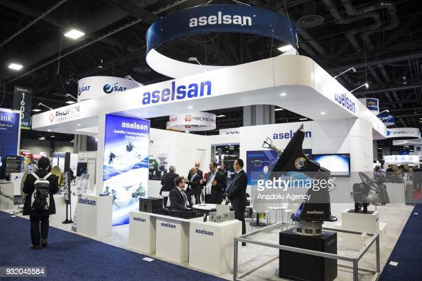 The Aselsan section at the booth for Turkish satellite makers at the Satellite 2018 Exhibition in Washington USA on March 14 2018