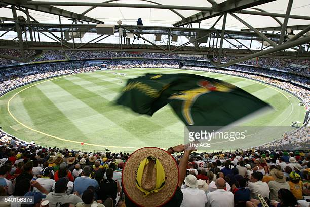 The Ashes 20062007 An Australian fan waves a boxing kangaroo flag on Day One of the First Test at the Gabba in Brisbane 23 November 2006 THE AGE...