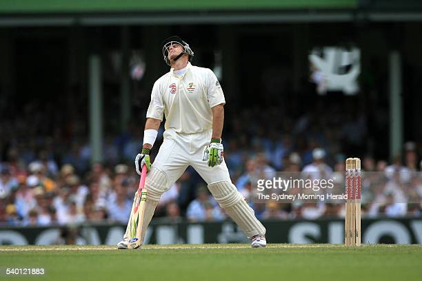 The Ashes 20062007 Australian batsman Matthew Hayden shows his disappointment after being caught at second slip by England's Paul Collingwood for 33...