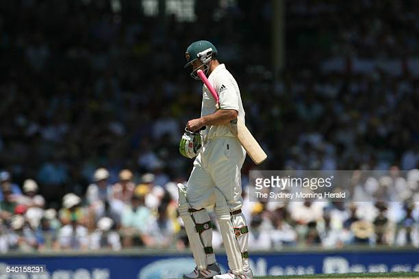 The Ashes 20062007 Australian batsman Matthew Hayden walks back to the pavilion after being caught by English wicketkeeper Geraint Jones off the...