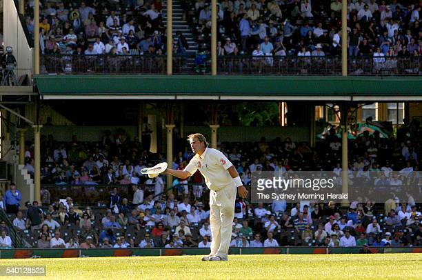 The Ashes 20062007 Australian spin bowler Shane Warne bows to the crowd in the Doug Walters' Stand after taking the wicket of English cricket captain...