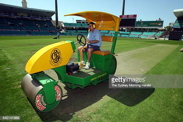 The Ashes 20062007 Curator Tom Parker works on the wicket at the Sydney Cricket Ground in preparation for the Fifth Test between Australia and...