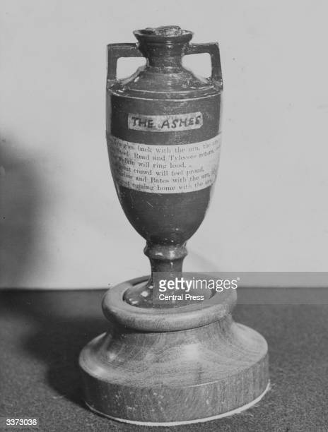 'The Ashes' a funereal trophy for which English and Australian cricket teams compete and which is kept in the Long Room of the pavilion at Lord's...