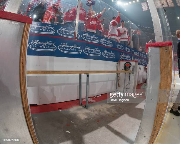 The ashes of the late Detroit Red Wing Bob Probert lay in the penalty box put there by his wife Dani Probert after the post game ceremonies from the...