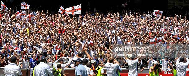 The Ashes retained the Barmy Army and the England team celebrate Australia v England 4th Test Melbourne December 201011
