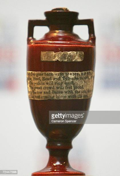 The Ashes Urn is seen during the Ashes Series official launch at the Museum of Sydney on November 8 2006 in Sydney Australia Australia and England...