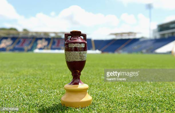 The Ashes urn sits on the outfield ahead of the 1st Investec Ashes Test match between England and Australia at SWALEC Stadium on July 7 2015 in...