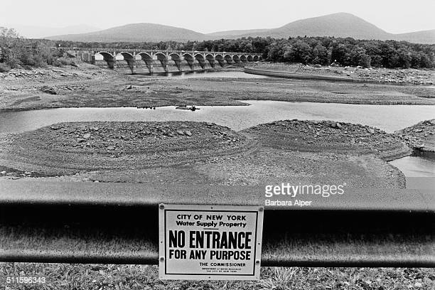 The Ashokan Reservoir in Ulster County New York State USA during a drought summer 1991