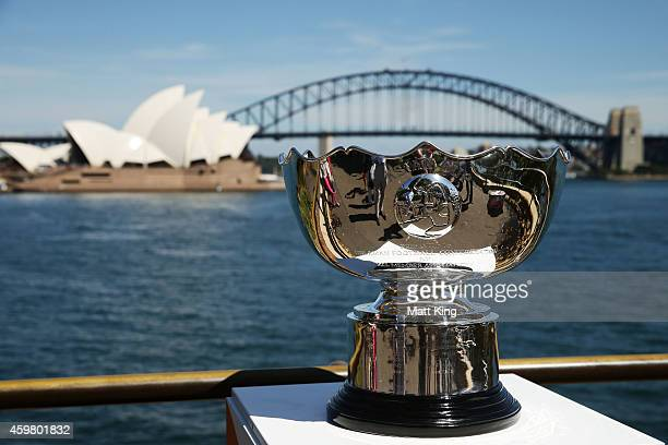 The Asian Cup trophy is seen during the Asian Cup Trophy Tour at Sydney Harbour on December 2 2014 in Sydney Australia