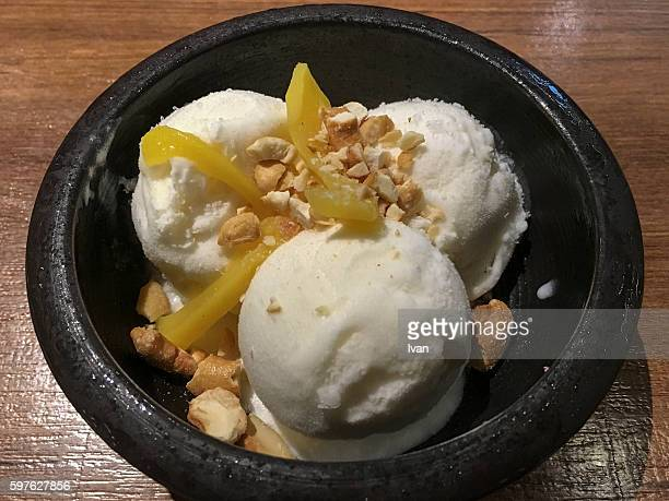The Asian Dessert - Coconut Ice Cream with Tropic Fruit and Nuts