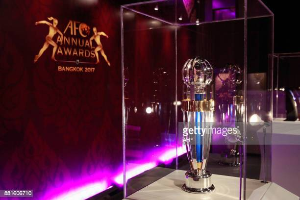 The Asian Football Confederation Player of the Year trophy is displaued during the AFC Annual Awards in Bangkok on November 29 2017 / AFP PHOTO /...