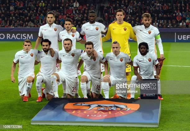 The ASRoma team with Konstantinos Manolas Alessandro Florenzi Antonio Ruediger Wojciech Szczesny Daniele De Rossi Lucas Digne Mohamed Salah...