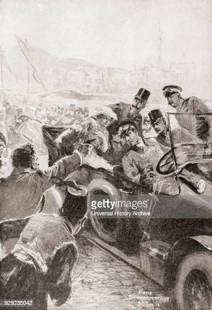 The assassination of Franz Ferdinand and his wife Sophie Duchess of Hohenberg 28 June 1914 in Sarajevo by Gavrilo Princip Franz Ferdinand 1863 – 1914...