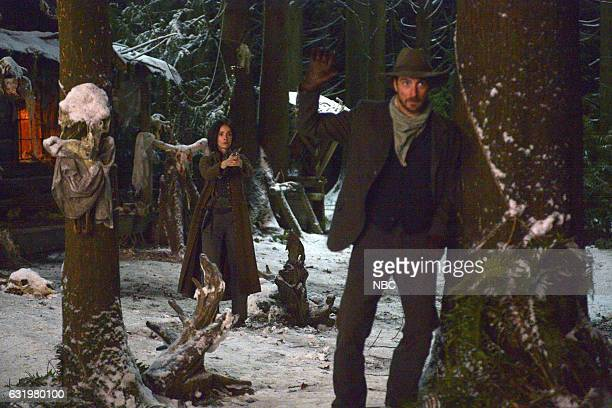 "The Assassination of Jesse James"" Episode 111 -- Pictured: Abigail Spencer as Lucy Preston, Daniel Lissing as Jesse James --"