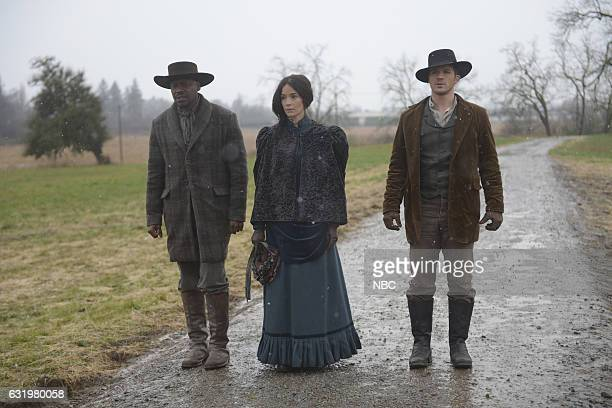 "The Assassination of Jesse James"" Episode 111 -- Pictured: Malcolm Barrett as Rufus Carlin, Abigail Spencer as Lucy Preston, Matt Lanter as Wyatt..."