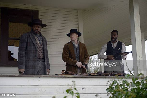TIMELESS The Assassination of Jesse James Episode 111 Pictured Malcolm Barrett as Rufus Carlin Matt Lanter as Wyatt Logan Coleman Domingo as Bass...