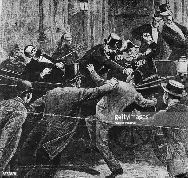 The assassination of Marie Francois Sadi Carnot, president of the French republic, at the hand of Italian anarchist Santo Casario, at Lyon. Mikhail...