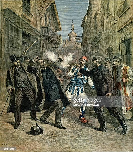 The assassination of Minister Beltchef in front of the Bulgarian Prime Minister Stefan Nikolov Stambolov in Sofia Bulgaria 19th century