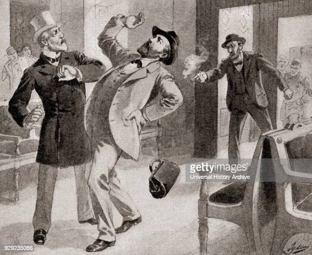 The assassination of President James A. Garfield at the Baltimore and Potomac Railroad Station, Washington D.C., America on July 2 by Charles Julius...