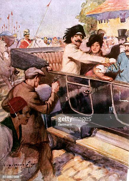 The assassination of the Archduke Franz Ferdinand and his wife in Sarajevo.