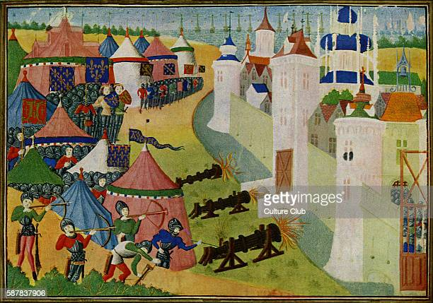 The Assault on the strong town of Afrique, modern Mehadia, Tunisia, from Froissarts Chronicles by Jean Froissart, chronicler of medieval France, c....