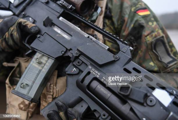 The assault rifle G 36 from Heckler and Koch in the hands of a soldier of the German Bundeswehr during a training at the Bundeswehr infantry training...