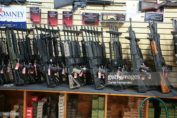 The assault rifles rack at Discount Firearms and Ammo, one of the largest gun retailers in Nevada.