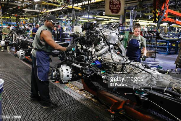 The assembly line at the General Motors Flint Assembly Plant where the new 2020 Chevy Silverado HD is being built is shown on February 5 2019 in...