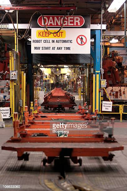 The assembly line sits idle during a liquidation auction at the permanently shutdown General Motors Co Pontiac Assembly plant in Pontiac Michigan US...
