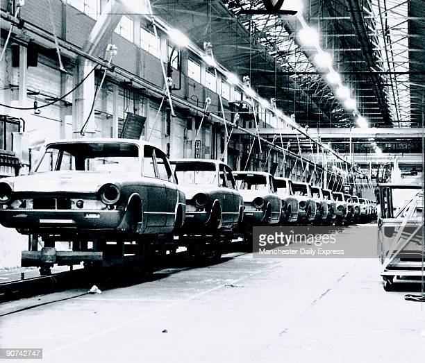 The assembly lines at the StandardTriumph factory in Liverpool lie idle during strike action 24 November 1965