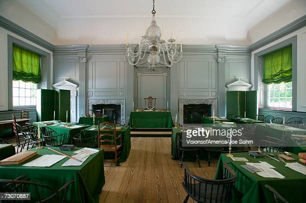 """""""The Assembly Room where Declaration of Independence and U.S. Constitution were signed in Independence Hall, Philadelphia, Pennsylvania"""""""