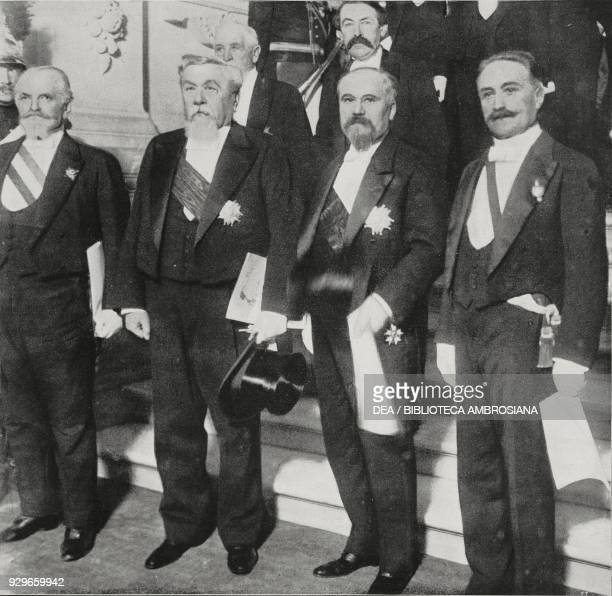 The assignment of Poincare as President of the French Republic Loubet Fallieres Raymond Poincare and Deschanel leaving Hotel de Ville for the elysee...
