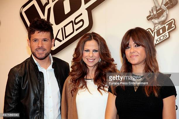 The assistant coaches of 'La Voz Kids 2' Pablo Lopez Pastora Soler and Vanesa Martin attend photocall on October 13 2015 in Madrid Spain