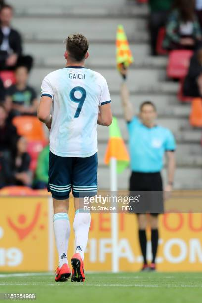 The assistant referee disallows a goal scored by Adolfo Gaich of Argentina during the 2019 FIFA U20 World Cup group F match between Portugal and...