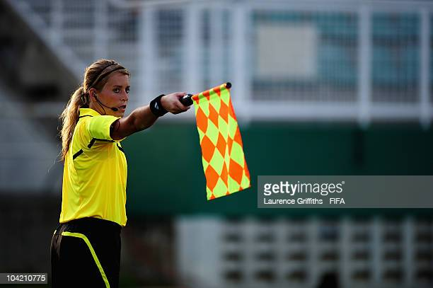 The Assistant Referee signals for offside during the FIFA U17 Women's World Cup Quarter Final match between Nigeria and South Korea at the Manny...