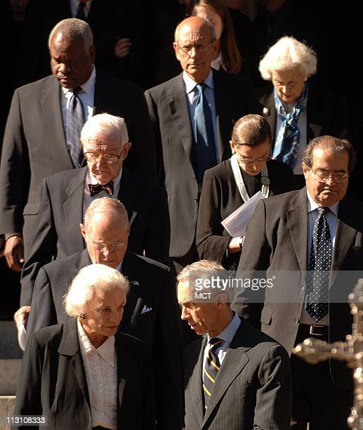 WASHINGTON DC The Associate Justices of the Supreme Court leave funeral services of Chief Justice William Rehnquist at St Matthew's Cathedral in...