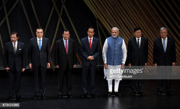 The Association of Southeast Asian Nations members Hassanal Bolkiah Chinese Premier Li Keqiang Laos Prime Minister Thongloun Sisoulith Indonesia's...