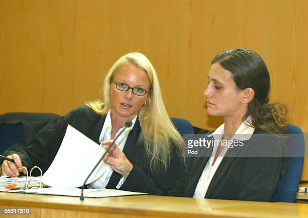 The assumed victim Katharina B waits with her lawyer Friederike Vilmar in the courtroom before the verdict is delivered in the case of former TV...