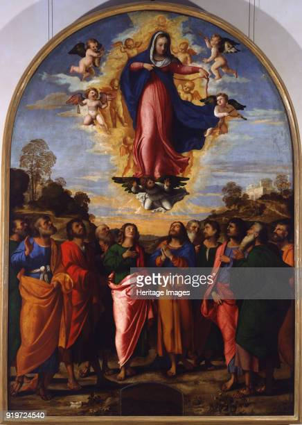 The Assumption of the Blessed Virgin Mary Found in the Collection of Gallerie dell' Accademia Venice