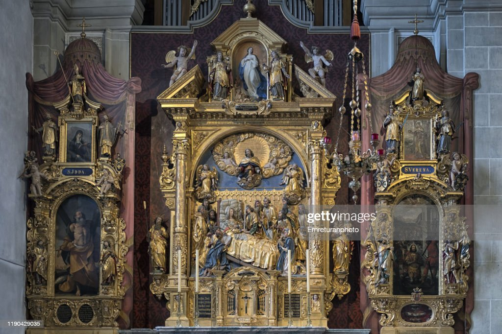 The assumption of Virgin Mary altar,St.Leger church in Lucerne. : Stock Photo