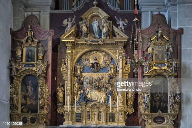 the assumption of virgin mary altar,st.leger church in lucerne. - emreturanphoto stock pictures, royalty-free photos & images